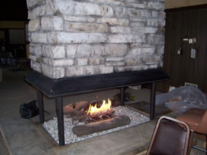 convert commercial restaurant fireplace