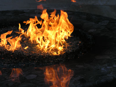 sooting burned fireglass from propane firepit